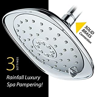 New 2018 High-Pressure 3-function Giant Designer Rain Shower Head w/High-Power Pulsating Massage & Whisper-Quite(TM) Technology! More Power - Less Noise!/Brass Metal Connection Nut, Anti-Clog Jets.