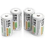 EBL Mono D Akku 10000mAh Ni-MH wiederaufladbaren Batterie Typ D Akku 4 Stück