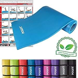 POWRX Gymnastikmatte Trainingsmatte Pilatesmatte Phthalatfrei 190 X 60 X 1.5 cm oder 190 x 100 x 1.5 cm in verschiedenen Farben (Blau, 190 x 60 x 1.5 cm)