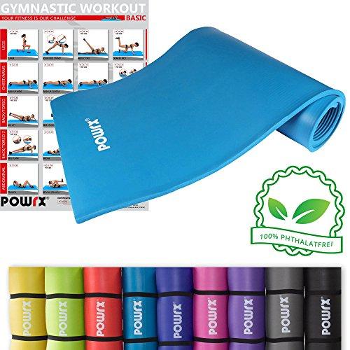 POWRX Gymnastikmatte inkl. Trageband + Workout GRATIS I Hautfreundliche Trainingsmatte Yogamatte Phthalatfrei 190 x 60 oder 100 x 1.5 cm I versch. Farben (Blau, 190 x 100 x 1.5 cm)