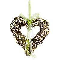 Heitmann DECO 63759 V.I.P de corazón con cinta (, mimbre, natural/verde, 26,5 x 26 x 8 cm