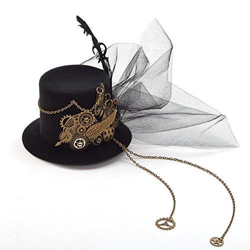 Double Villages Mini Sombrero Clip gótica Mujer Steampunk Gang alas Reloj Mariposa Sombrero Encaje Cabello Clip chapellerie (E)