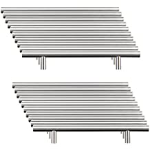 Sungle®20 x Tiradores de barra de acero inoxidable, T forma cepillado (distancia entre orificios 128mm/longitud 200mm)
