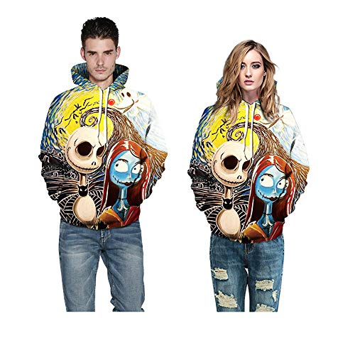 WANLN Halloween-Kostüm 3D-Druck Jack übergroße Unisex-Langarm-Multi-Color-Hoodie Damen Sweatshirt,Gelb,M (Übergröße Clown Kostüm)