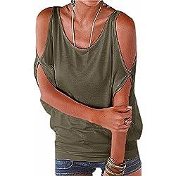 Imixcity Verano Camisas De Hombro Frío Blusas Tops del Batwing Camisetas sin Mangas Camiseta Casual Camiseta para Mujer (XL, Verde)