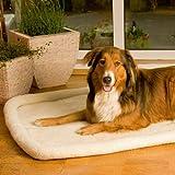 Liegedecke Sheepy beige 77 x 50 cm Hundedecke Waschbar mit Isolierschicht gegen Kälte flauschige Decke im Schafsfell Design