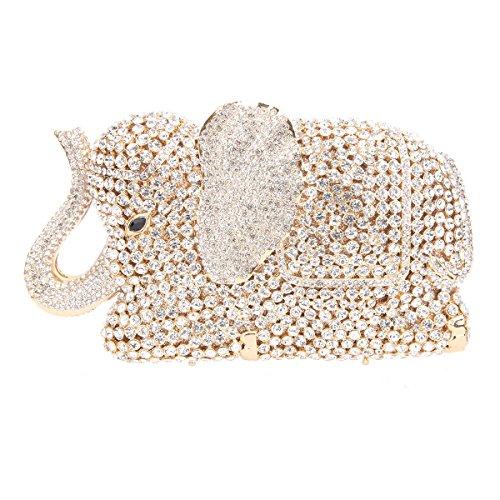 Bonjanvye Crystal Rhinestone Elephant Clutch Purse for Wedding Party Gold