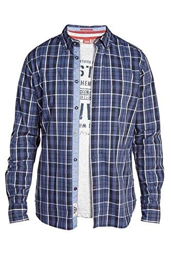 D555 -  Camicia Casual  -  Vestito modellante  - Maniche lunghe  - Uomo Blue/Navy Check