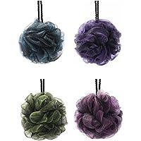 KFZR Paquete de 4 grandes exfoliantes cuerpo de baño de ducha Esponja Puff para hombres y mujeres Verde Azul Rosa Púrpura doble capa Negro capa externa (A)