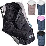 Winterfußsack Baby Fußsack (MELANGE) für Babyschale / Autobabyschale / Kinderwagen (Dunkelgrau/Rosa)