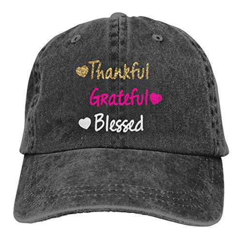 Grateful Thankful Blessed Washed Denim Hat Adjustable Unisex Dad Baseball Caps Bio Washed Cap
