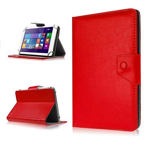 NAUC Tasche Hülle für ODYS Ieos Quad 10 Pro Schutzhülle Tablet Cover Case Bag Etui, Modellauswahl:Rot mit Magnetverschluss