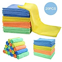 MASTERTOP Cleaning Rags 20Pcs/Pack Microfiber Dust Cleaning Cloth 4 Colors Multifunctional Cleaning Rag for Kitchen Car