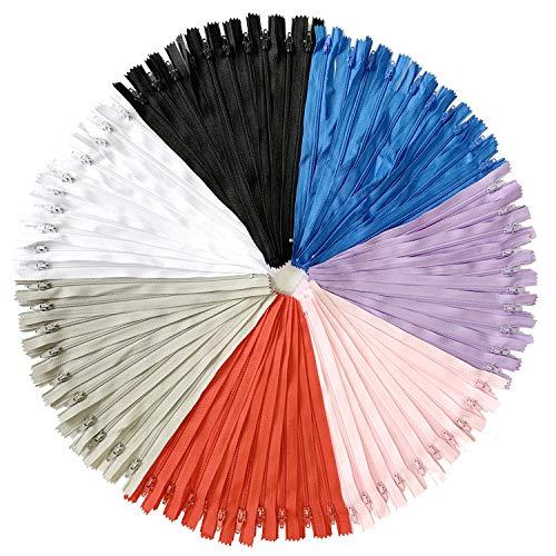 Doitem cerniere a spirale in nylon multicolore 70pcs 30cm / 12 pollici per cucito e artigianato 7 colori