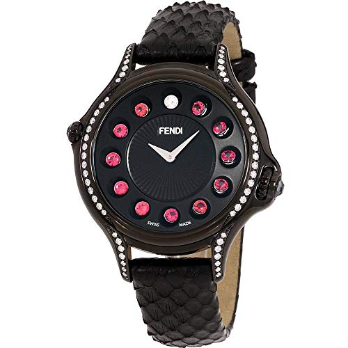 Fendi Women's Crazy Carats 38mm Black Leather Band Steel Case Quartz Analog...
