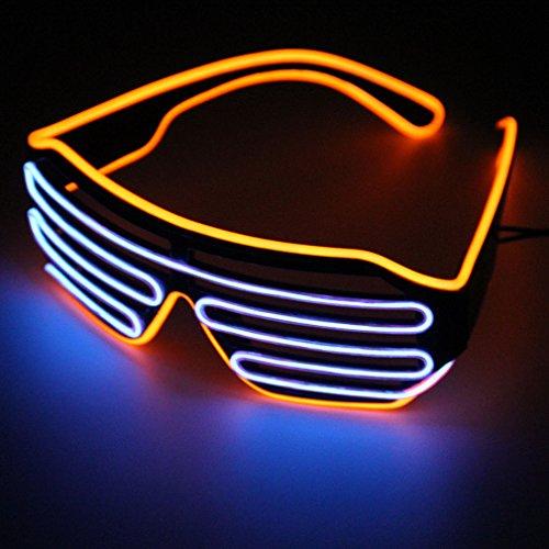 Pretty Smart Glasses Orange & Blau Hot Draht LED Neon Licht bis Shutter geformte Gläser für Kostüm Party