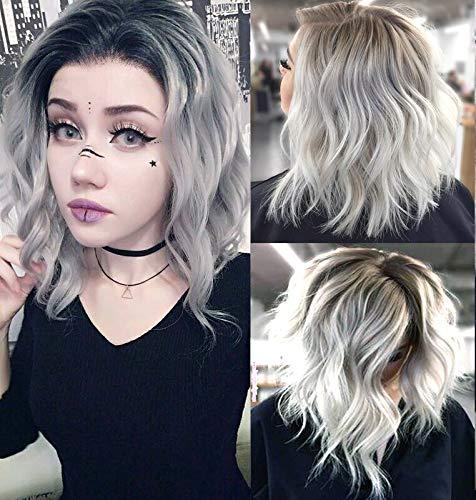 Peluca de pelo sintético ondulado de color gris plateado, pelo sintético para mujer, de aspecto natural...