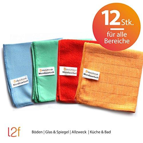 Microfaser Tücher clean2magic Allzweck (12-teilig) | Mikrofasertücher, jeweils für 3 x Böden (blau), 3 x Glas/Spiegel (grün), 3 x Multizweck (rot), 3 x Küche/Bad (orange) | 30 x 30 cm (3 X Bad)
