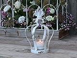 Chic Antique Teelichthalter Nostalgische Krone Windlicht mit Glaseinsatz Metall Antik weiß Shabby