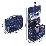 Shopper Joy Kulturbeutel Kulturtasche zum Aufhängen Kosmetiktasche Waschtasche Reisetasche für Damen Herren für Reise Zugreise Camping Outdoor  - Dunkelblau + Dots