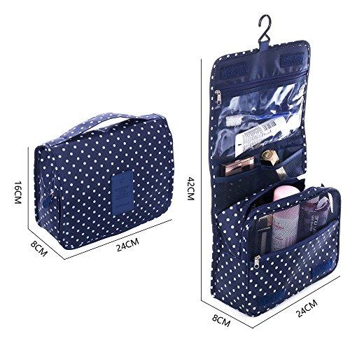 Shopper Joy Bolsa de Aseo Maquillaje Neceser para Colgar Bolso de Cosméticos Hombres Mujeres para Viaje Camping - Azul Oscuro + Puntos