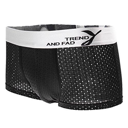 Herren Atmungsaktive Mesh Boxershorts Unterhose Unterwäsche aus Modal Baumwolle Farbwahl - Schwarz, XXL (Atmungsaktive Unterwäsche)