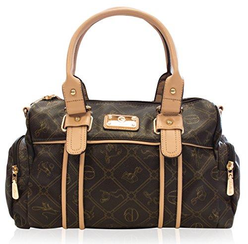 Kunst Handtasche (Halal-Wear Damentasche Umhängetasche Handtasche Kunst Leder von Giulia Pieralli *sehr beliebt* - Modell: 26119E Farbe: Braun)