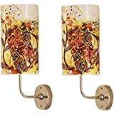LIGHT ANGLE Handmade Plastic With Colored Sheet Crafted Floral Sceneted Wall Sconce Lamp (Pack Of 2) (5.5x5.5 X 8 Inch, Multicolor)