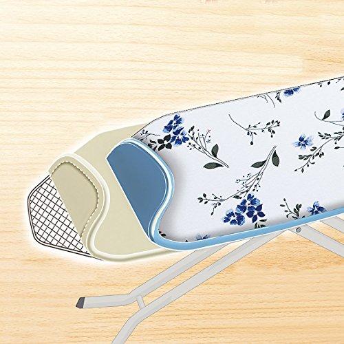 Wenko 1180993500 Bügeltischbezug Universal Keramik Floral Blau – Hightech Hitzereflexion, Easy Glide, Universalgröße für S bis XXL, Baumwolle, Mehrfarbig