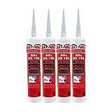 4x Bauelastischer Folienkleber, Kartusche mit 315 Gramm, luftdichte Verklebung von Dampfbremsfolien und Fensteranschlussbändern
