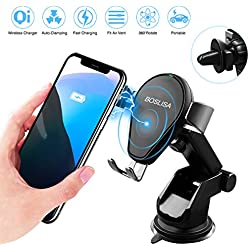 BOSLISA Wireless Car Charger, Auto-clamping Qi Wireless Charger Car Mount with 360°Air Vent Holder, Fast Charge for Samsung Note 8/7/5, S9/S8/S7, iPhone X/iPhone 8/8 Plus and More