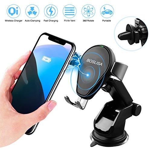 BOSLISA Qi Wireless Charger Auto, Induktionsladegeräte kabelloses Ladegerät Kompatibel für iPhone,Samsung Viele Mehr