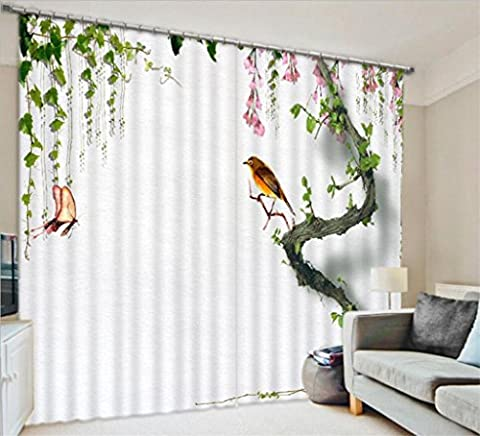 GFYWZ Curtains Polyester 3D Birds Tree branch Visual space Blackout Noise Reducing Drape Modern minimalist Panels for Bedroom Home Decor Insulated Window Drapes , wide 2.64x high 2.41