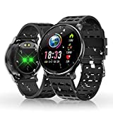 HOLALEI Smartwatch, Fitness Armband Wasserdicht Smart Watch Intelligente Fitness Tracker Aktivitäts Uhr Armbanduhr mit Pulsmesser Schlafmonitor Anruf Beachten Damen Herren für Android iOS (Schwarz)