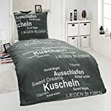 Dreamhome24 2 TLG Warme Kuschel Microfaser Thermo Fleece Winter Bettwäsche 135x200 80x80
