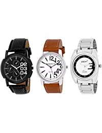 DCH Exclusive Analogue 3 Watch Combo With Black White Dial For Men/Boys