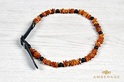 Authentic Amber Flea Lice Tick Collar with Adjustable Leather Strap and Natural Lava Beads for Dogs and Cats by Amberage - Untreated Baltic Amber Dog Necklace / Double Tick Lice Flea Control and Prevention - Perfect Gift for Pet Lovers!