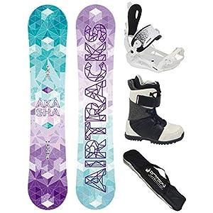 Airtracks Damen Snowboard Komplett Set – AKASHA Lady Snowboard Zero Rocker + Bindung Master W FASTEC ™ + Snowboardbots + Snowboard Bag / 144 147 150 153 / cm