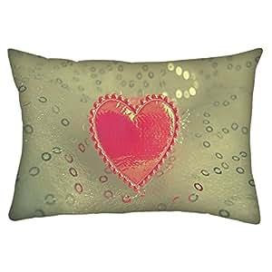 "Snoogg Small Heart Rectangle Toss Throw Pillow Cushion Cover Decoarative Pillow Case 12 x 18"""