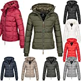 Marikoo Damen Jacke Parka Übergangsjacke Winter Steppjacke Daunen Look Kapuze warm gefüttert Sole150 XS-XXL 9-Farben