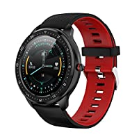 WWWTTT Smart Watch, 1.3-inch Bluetooth Waterproof Full-touch Round Mechanical Dial, Men Women Multifunctional Sports Fashion Fitness Step Counter Weather Photos, Android 5.0 (Color : Black red)
