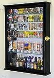 Black : Large Mirror Backed and 7 Glass Shelves Shot Glasses Display Case Holder Cabinet , Black