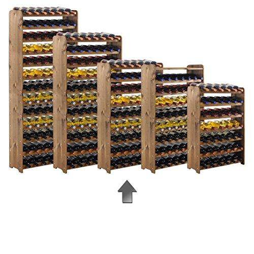 Weinregal / Flaschenregal System 'Optiplus' Modell 3, für 63 Fl., Holzverbundstoff, braun gebeizt