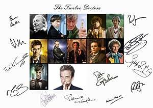 Mega Deal Online Affiche Doctor Who avec photos des 12 Docteurs dédicacée par les 12 acteurs