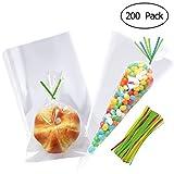TOYMYTOY Süßigkeiten Tüten Cello Taschen Transparent Plätzchen Beutel Geschenk Verpackung Tüte für Kindergeburtstag, Halloween mit Twist Krawatten 200Pcs