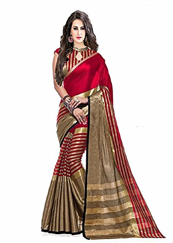 Saree(Women`s cotton saree with blouse piece-Red color)