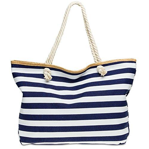 CASPAR TS1025 große XXL Damen Marine Strandtasche / Shopper mit klassisch maritimen Streifen Block Muster , Farbe:dunkelblau;Größe:One Size