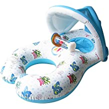 niceEshop Multifonctionnel 3 en 1 Anneau de Natation Gonflable avec Pare-soleil pour Bébé et Parents