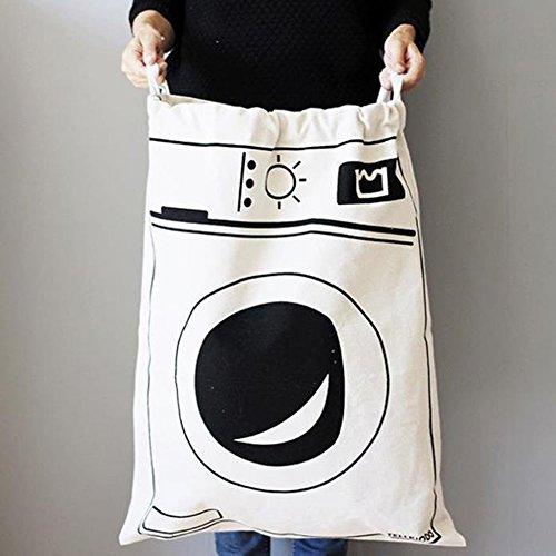Fyore, borsa per il bucato extra grande, in tela resistente con chiusura con coulisse, in cotone e lino, shabby chic, 65 x 45cm