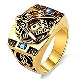 AZUO Retro Edelstahl Ring Inlay Blau Edelstein Golden Persönlichkeit Titanstahl Ring,XXL